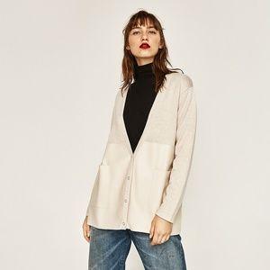 NewZara Faux Leather Knit Cardigan Blazer Jacket M